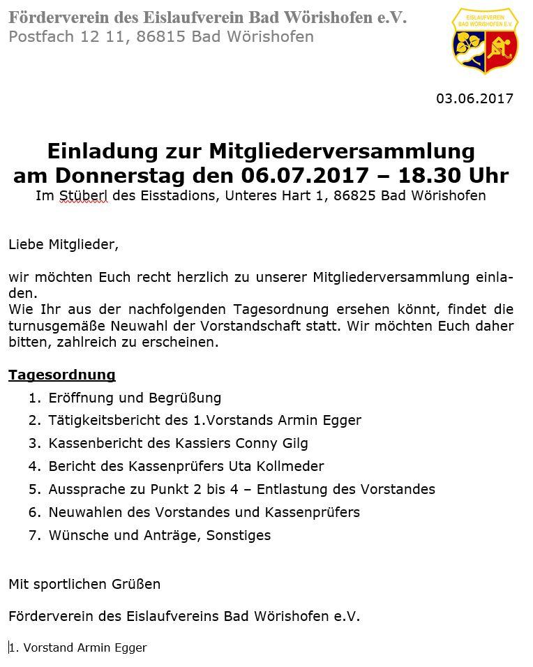 Einladung Förderverein 2017